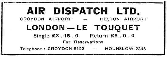 Air Dispatch - Croydon & Heston.  London Le Touquet