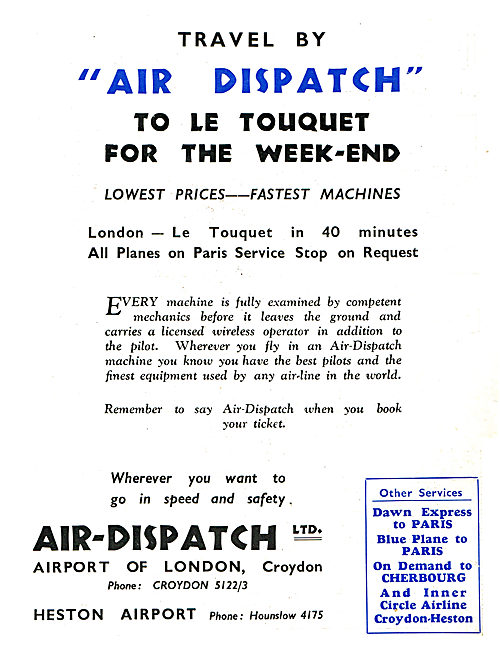 Air-Dispatch - Croydon & Heston.  London Le Touquet