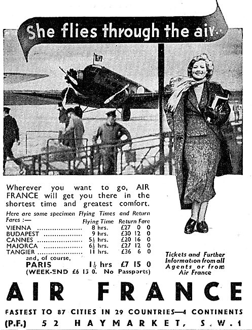 Air France - Specimen Flight Times