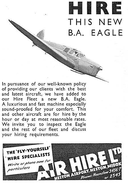Air Hire Heston - The Fly Yourself Specialists. BA Eagle