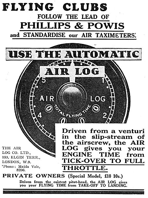 Venturi Driven Automatic Air Log Records Total Flying Time