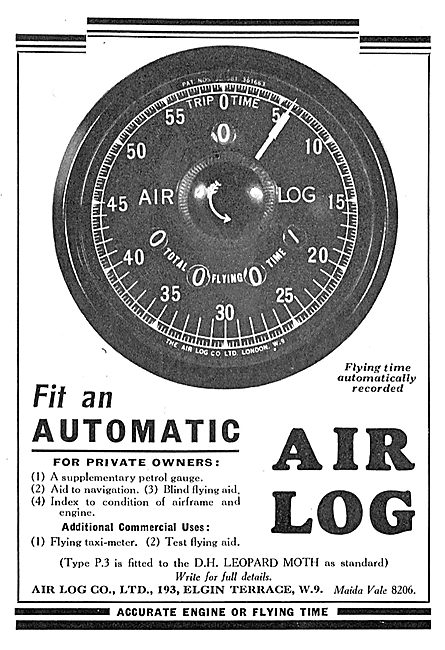 Air Log Automatic Elapsed Time Meters For Aircraft