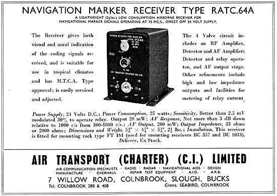 Air Transportt Charter. Navigation Marker Receiver Type RATC.64A