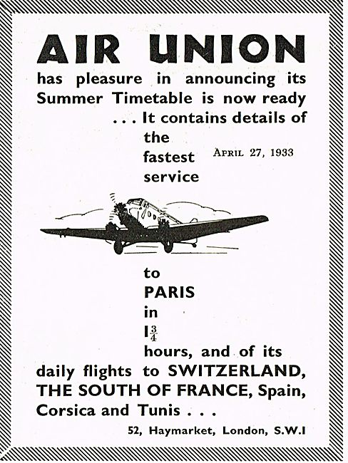 Air Union 1933 Summer Timetable