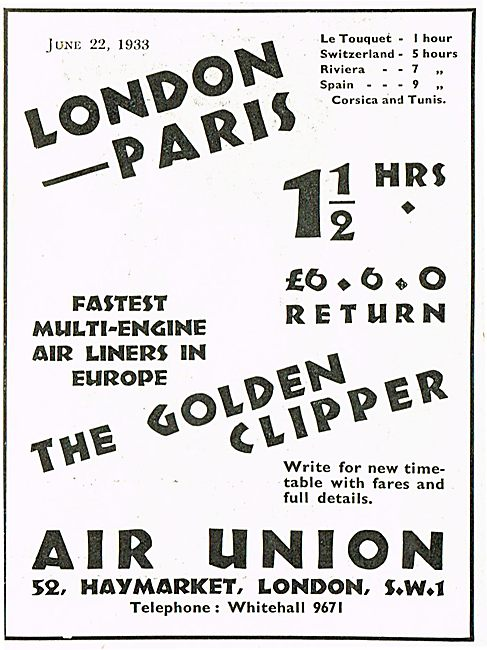 London Paris in 11/2 Hours With Air Union Golden Clipper