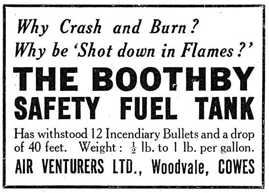 Air Venturers Ltd. Woodvale.Cowes. Boothby Safety Fuel Tank.