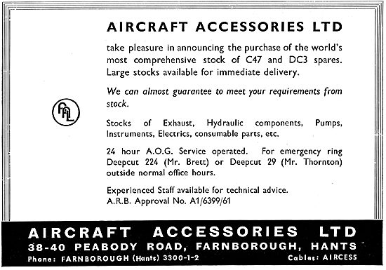 Aircraft Accessories Ltd, Farnborough. C47 & DC3 Spares