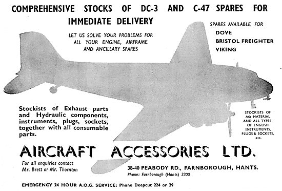 Aircraft Accessories Ltd - 38 Peabody Road Farnborough..