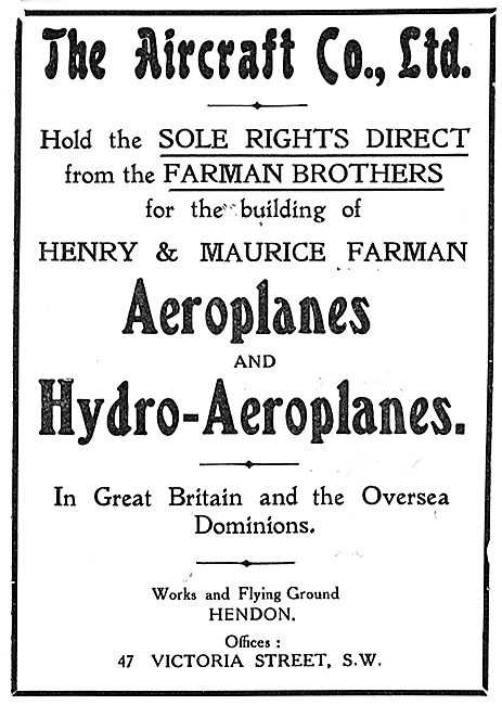 The Aircraft Company Have Sole Rights To Build Farman In The UK