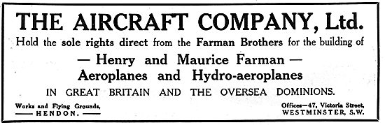 The Aircraft Co For Farman Aeroplanes & Hydroplanes In The UK