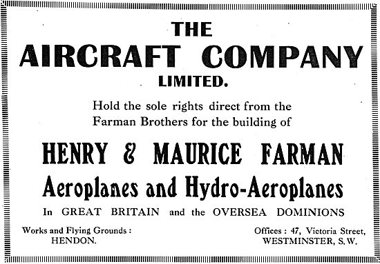 The Aircraft Co Hold The Rights To Build Henry & Maurice Farman