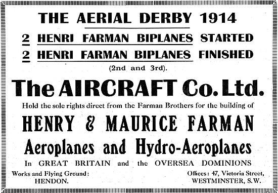 Aircraft Co Built Farmans Performance  Aerial Derby 1914