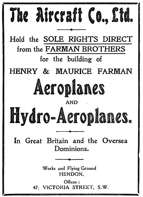The Aircraft Co Have Sole UK Rights For Building Farman Aircraft
