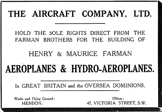 The Aircraft Company Holds The Rights To Build Farman Aeroplanes