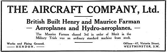 The Aircraft Co - British Built Henry & Maurice Farman Aeroplanes