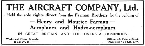 The Aircraft Company - British Built Farman Hydro-Aeroplanes