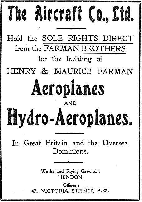 The Aircraft Company Holds UK  & Dominion Rights For Farman