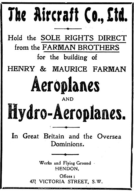 The Aircraft Company For Maurice & Henry Farman Aeroplanes