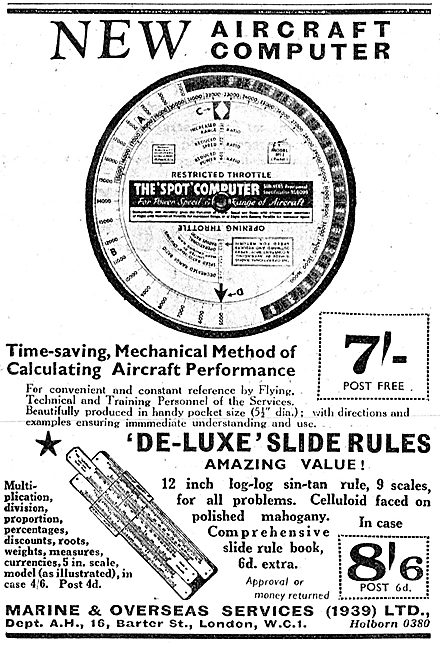 Aircraft Computers & Calculators. Spot Circular Slide Rule
