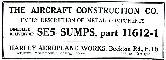 The Aircraft Construction Co - SE5 Sumps - Part 11612-1