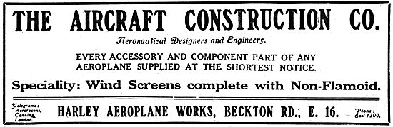The Aircraft Construction Co - Manufacturers Of Aeroplane Parts