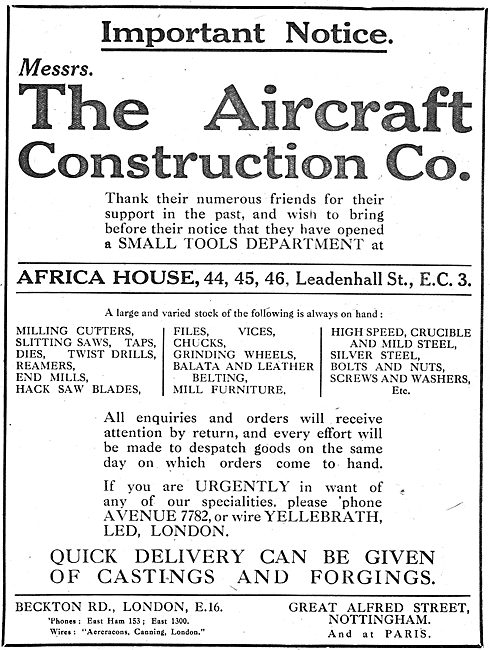 The Aircraft Construction Co -  Aircraft Components