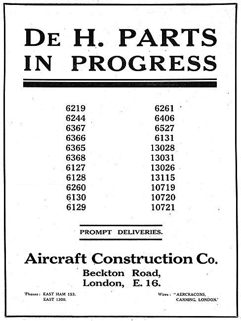 The Aircraft Construction Co - De Havilland Parts