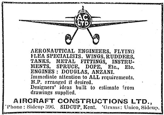 The Aircraft Constructions - Manufacturers Of Aeroplane Parts