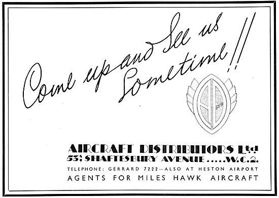 Aircraft Distributors Ltd. heston. Agents For Miles Aircraft 1934