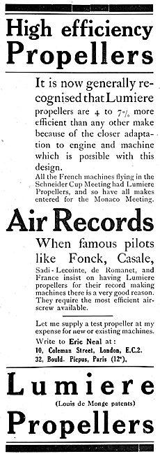 Lumiere Propellers. (Lousi de Monge) Eric Neal. 1920 Advert