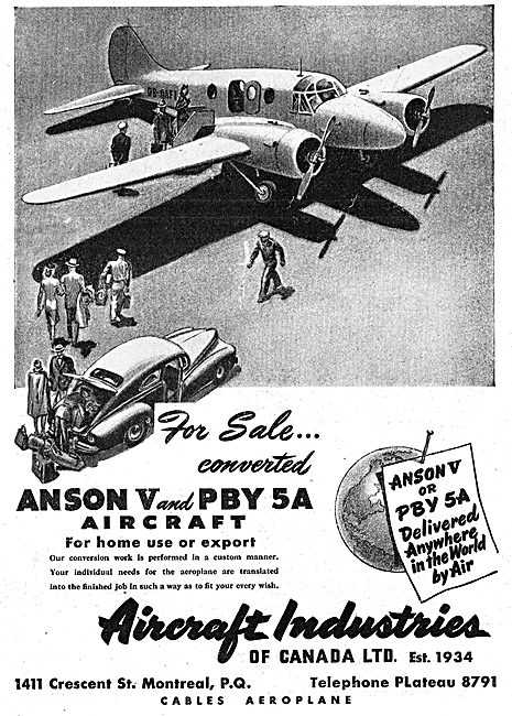 Aircraft Industries Of Canada - Anson V & PBY 5A Aircraft