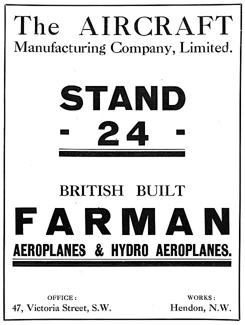 The Aircraft Manufacturing Co Hendon.- Farman Aeroplanes