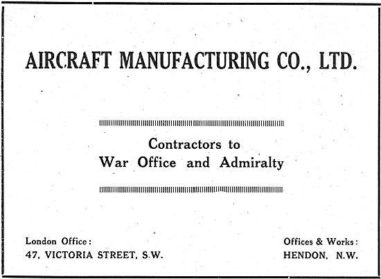 Aircraft Manufacturing Co. Hendon. Airco