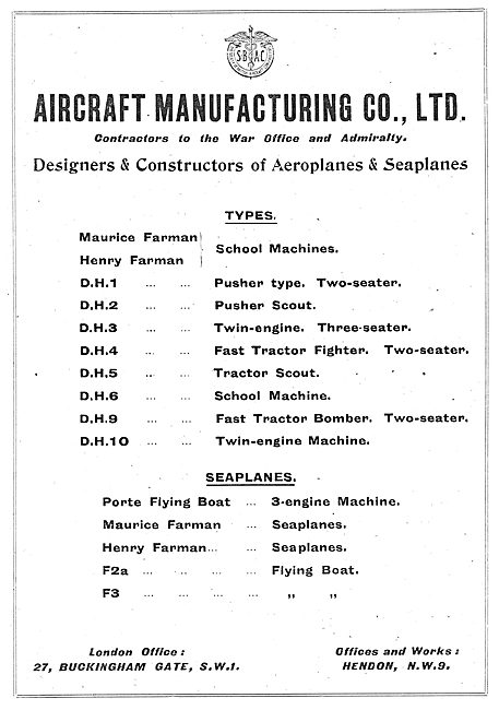Aircraft Mfg Co - Designers & Constructors Of Aeroplanes