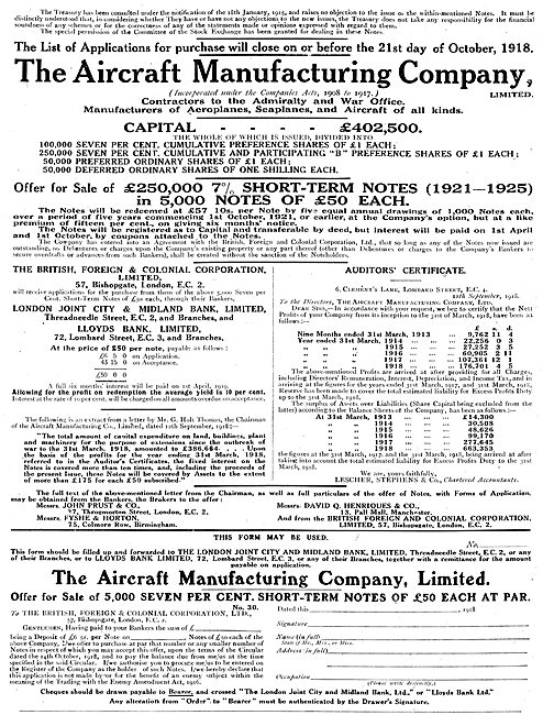 The Aircraft Manufacturing Co Hendon. Prospectus Airco