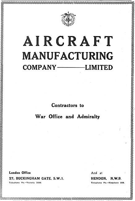The Aircraft Manufacturing Co Hendon. AIRCO