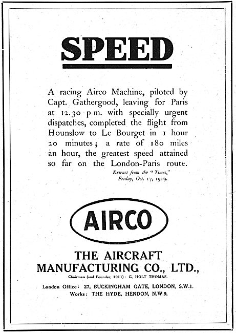 The Aircraft Manufacturing Co. AIRCO  Hendon. G.Holt Thomas