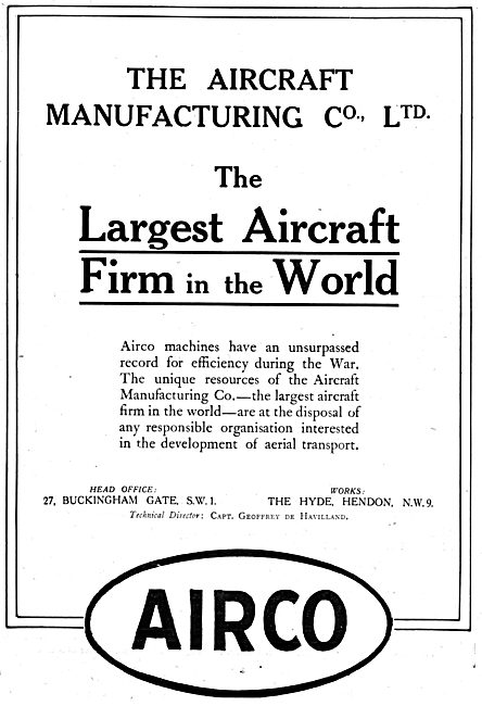 AIRCO Aircraft. Technical Director Capt Geoffrey De Havilland