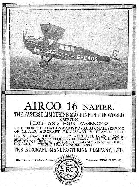 Airco 16 Napier Limousine Aircraft (Pilot + 4 Passengers)