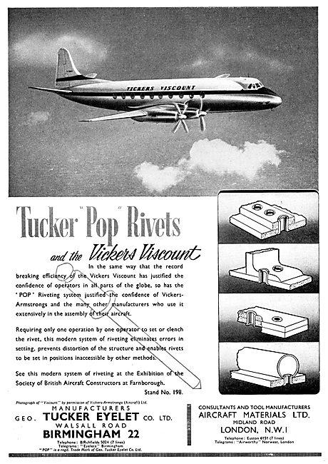 Aircraft Materials - AGS Parts & Fittings. Tucker Eyelet Rivets