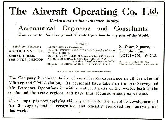 Aircraft Operating Company Contractors For Air Surveys