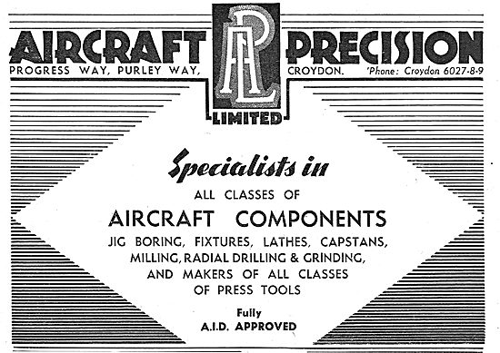 Aircraft Precision Ltd: Croydon. Manufacturers Aircraft Component