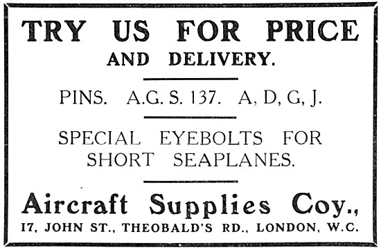The Aircraft Supplies Company.  AGS Parts 1915