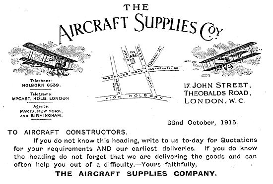 The Aircraft Supplies Company - Parts For Aircraft Constructors