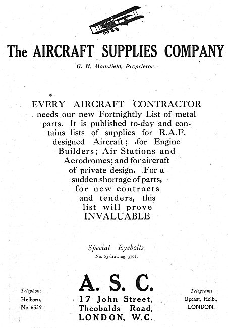 The Aircraft Supplies Company - Fortnightly Aircaft Parts Lists