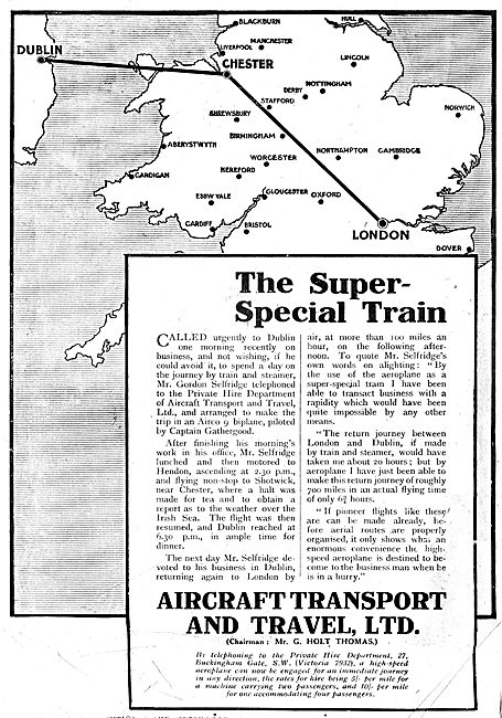Aircraft Transport & Travel Ltd: Super-Special Train. G.Selfridge