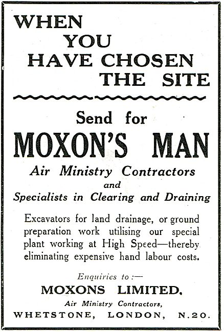 Moxons Ltd - Land Drainage. Air Ministry Contractors
