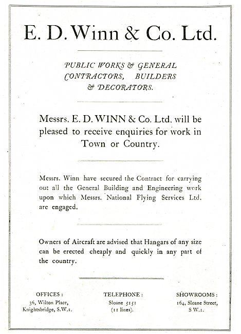 E.D.Winn & Co Aerodrome Building Contractors. NFS Approved