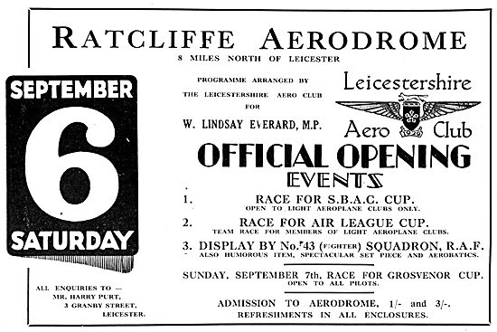 Leicester Ratcliffe Aerodrome Official Opening 1930