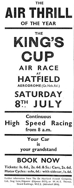 Kings Cup Air Race July 8th 1933 Hatfield Aerodrome